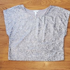 NWOT KIRRA Sequins gray top sparkle holiday S